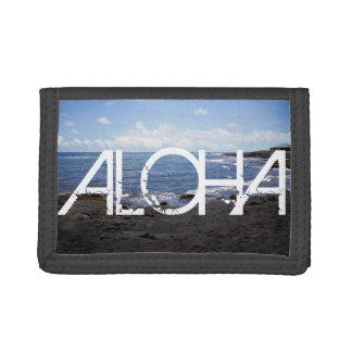 ALOHA Punalu'u Black Sand Beach Hawaii Trifold Wallets
