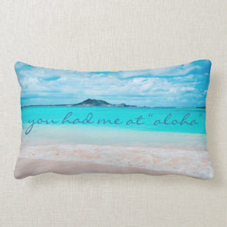 """Aloha"" Quote Turquoise Ocean & Sandy Beach Photo Lumbar Cushion"