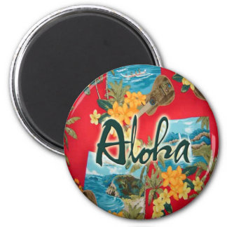Aloha Red 6 Cm Round Magnet