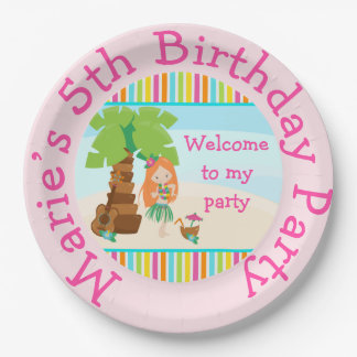 Aloha Red Hair Girl Party Paper Plate