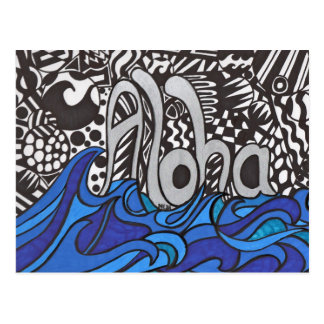 Aloha saying with waves on  Postcard