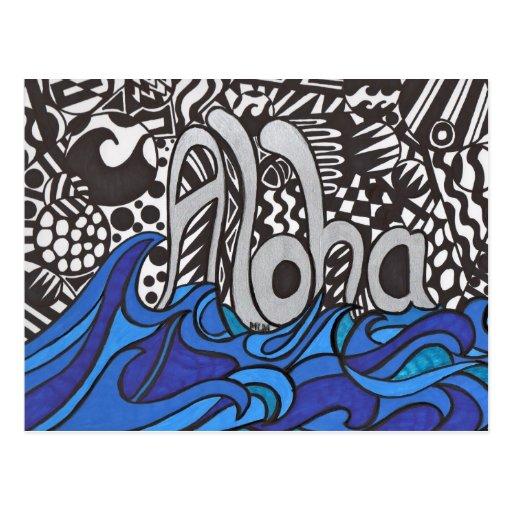 Aloha saying with waves on  Postcard