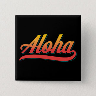 Aloha Script (Orange and Teal) 15 Cm Square Badge