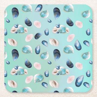 Aloha SeaShell Sea Shell Pearl Pattern Square Paper Coaster