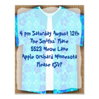 Aloha Shirt Luau Tiki Party Card