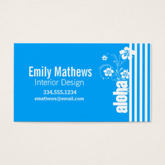 Aloha; Sky Blue Vertical Stripes; Striped Business Card