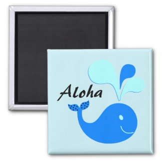 Aloha Spouting Whale Square Magnet