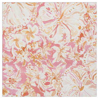 ALOHA STATE Peach Tropical Watercolor Floral Fabric