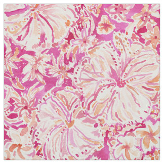 ALOHA STATE Tropical Watercolor Floral Fabric