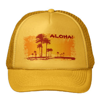 ALOHA Tropiacl Beach With Palm Trees Cap