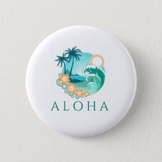 Aloha Tropical 6 Cm Round Badge