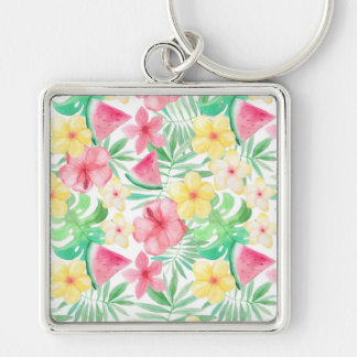 Aloha Tropical Exotic Flowers and Fruits Key Ring