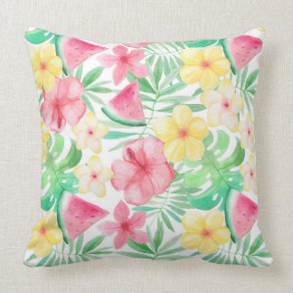 Aloha Tropical Exotic Flowers and Fruits Throw Pillow