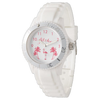 Aloha tropical flamingo and pink palms girly watch