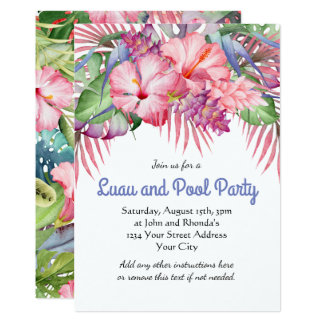 Aloha Tropical Floral Luau Pool Party Card