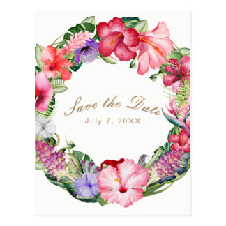 Aloha Tropical Floral Wreath Wedding Save the Date Postcard