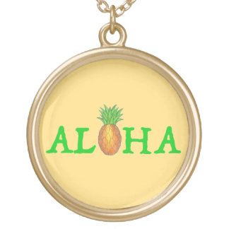 ALOHA Tropical Hawaii Hawaiian Pineapple Necklace