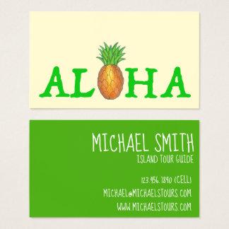 ALOHA Tropical Hawaiian Island Pineapple Travel Business Card