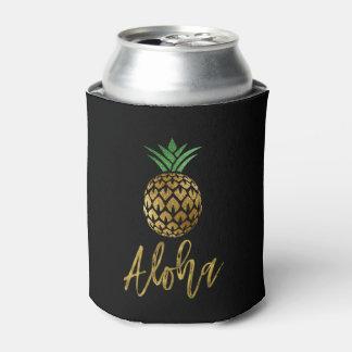 Aloha Tropical Hawaiian Pineapple Wedding Black Can Cooler