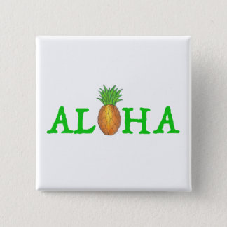 ALOHA Tropical Island Hawaiian Pineapple Button