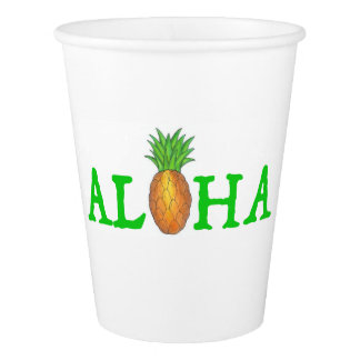 ALOHA Tropical Island Hawaiian Pineapple Paper Cup