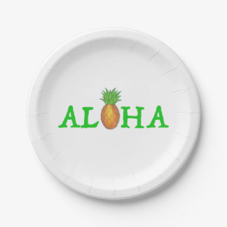 ALOHA Tropical Island Hawaiian Pineapple Plates