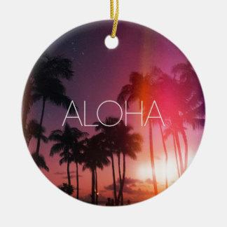 Aloha Tropical Night Ceramic Ornament