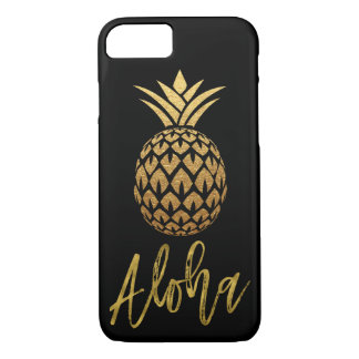 Aloha Tropical Pineapple Black and Gold Foil iPhone 8/7 Case