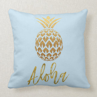 Aloha Tropical Pineapple Blue and Gold Foil Pillow