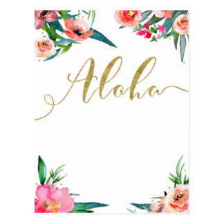 Aloha Tropical Summer Floral Modern Save the Date Postcard