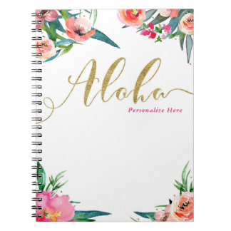 Aloha Tropical Summer Floral Modern Watercolor Spiral Notebook
