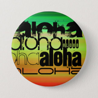 Aloha; Vibrant Green, Orange, & Yellow 7.5 Cm Round Badge
