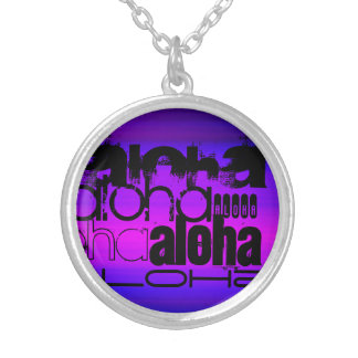 Aloha; Vibrant Violet Blue and Magenta Round Pendant Necklace