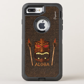 Aloha Vintage Tiki Mask & Torch Personalized OtterBox Defender iPhone 8 Plus/7 Plus Case