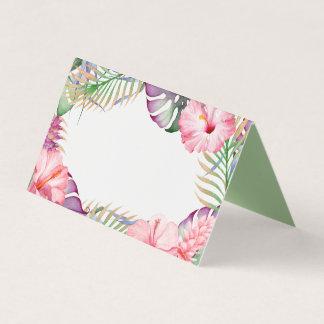 Aloha Watercolor Tropical Floral Luau Place Card