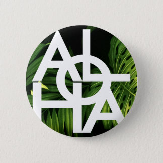 Aloha White Graphic Hawaii Palm 6 Cm Round Badge