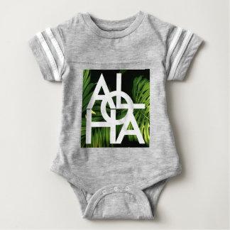 Aloha White Graphic Hawaii Palm Baby Bodysuit