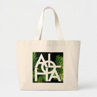 Aloha White Graphic Hawaii Palm Large Tote Bag