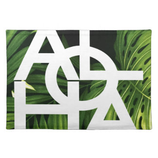 Aloha White Graphic Hawaii Palm Place Mats