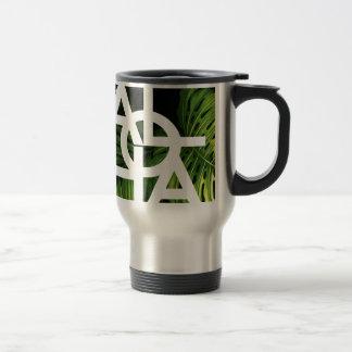 Aloha White Graphic Hawaii Palm Travel Mug