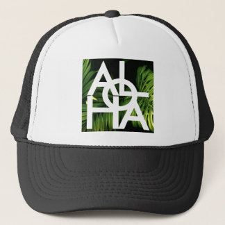 Aloha White Graphic Hawaii Palm Trucker Hat
