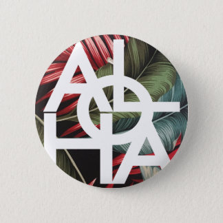 Aloha White Square Red Palm 6 Cm Round Badge