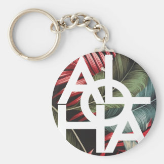 Aloha White Square Red Palm Key Ring