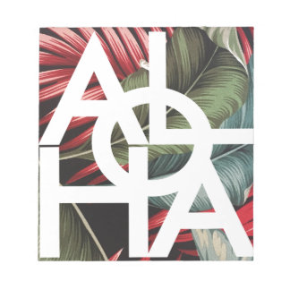 Aloha White Square Red Palm Notepad
