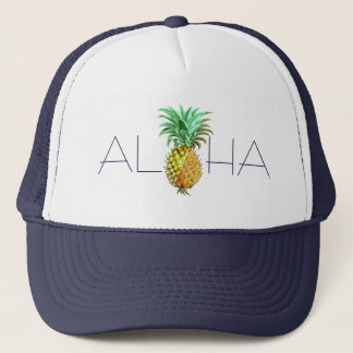 Aloha With PineApple Vintage Illustration Trucker Hat