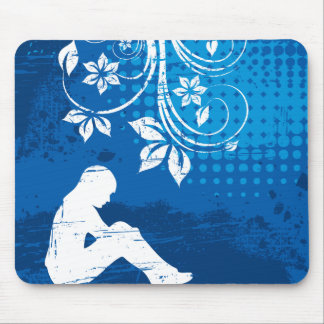 Alone girl mouse pad