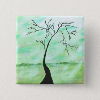 Alone I Waited Abstract Landscape Art Crooked Tree 15 Cm Square Badge