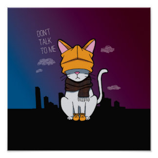Alone In A Big City Cartoon Illustration Cat Poster