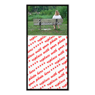 Alone On a Park Bench Color w Text Customized Photo Card