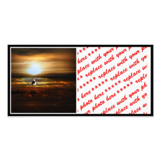 Alone on the Beach at Sunset Photo Cards